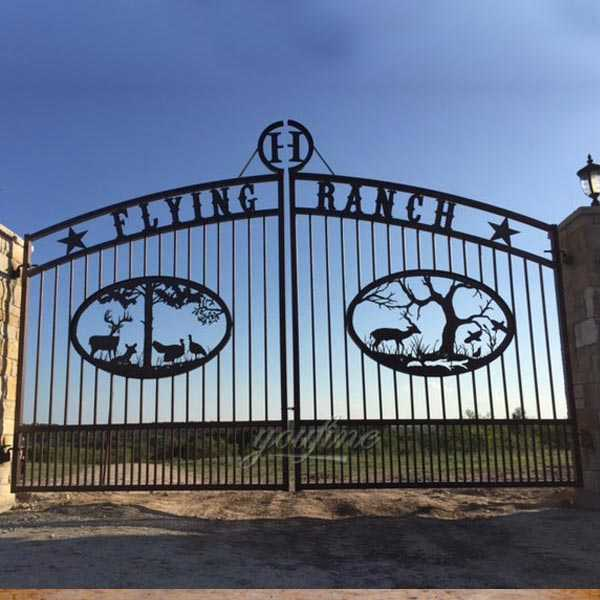 unique large outdoor metal estate driveway wrought iron double sliding gates with fence design for sale