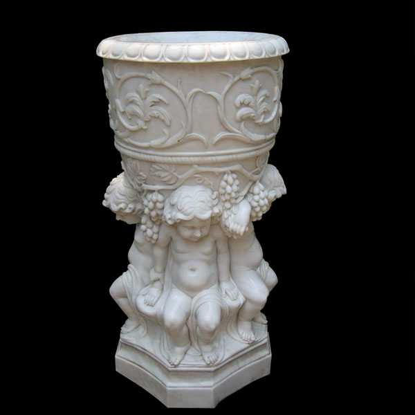 Decorative White Marble Flower Pot With Luxury Child