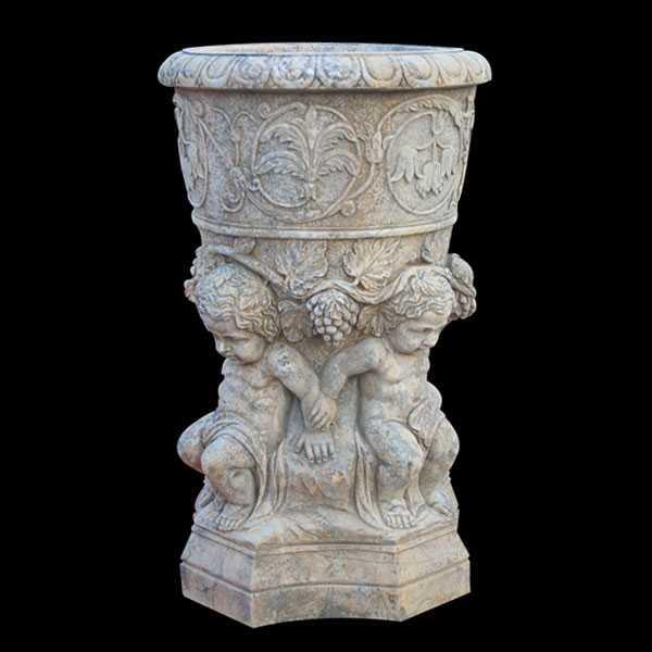 White Marble Flower Pot Decorative Plant Pots With Luxury
