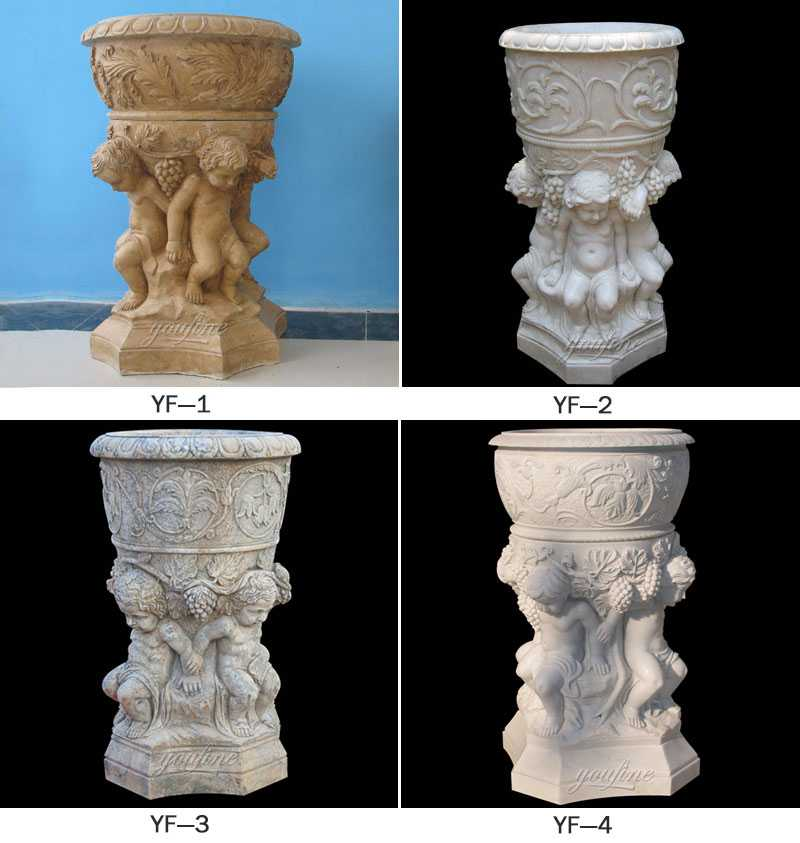white marble flower pot decorative plant pots with luxury child figures designs round basin for sales