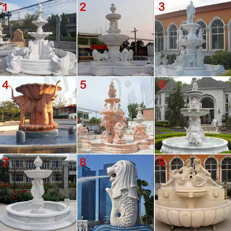 white marble fountain with lion and figure statue