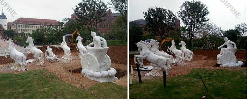 white marble fountains with rearing horse statues for sale for outdoor castle decor