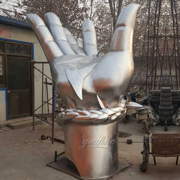 Wholesale large outdoor metal modern abstract stainless steel sculpture with hand design for sale
