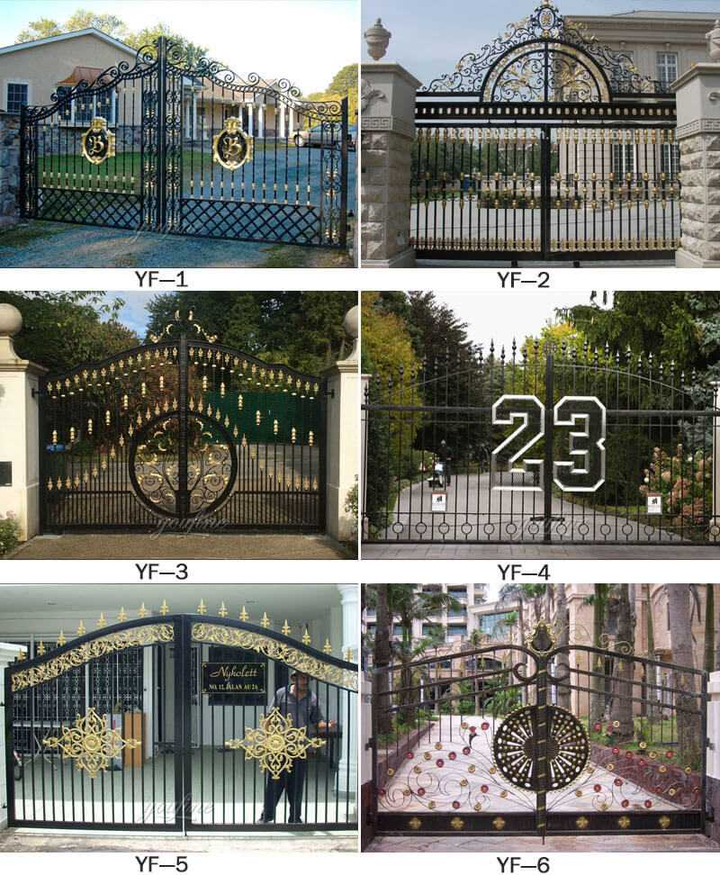 Modern Metal Art Double Driveway Front Entry Wrought Iron ... on Iron Get Design  id=41765