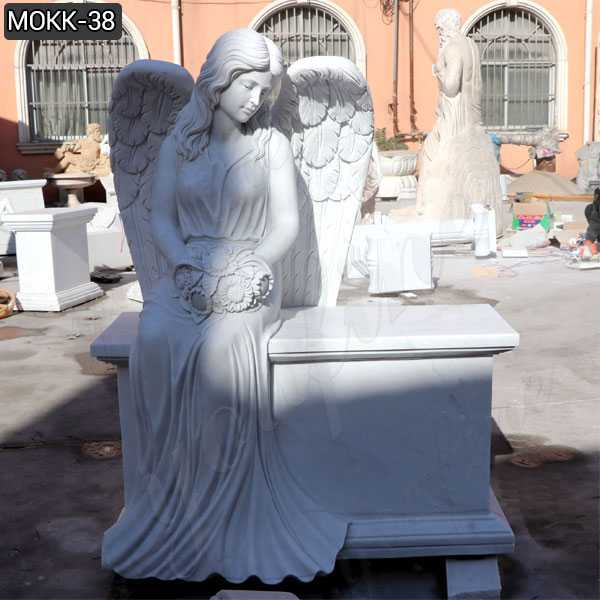 Hand Carved White Marble Angel Tombstone Memorials for sale MOKK-38