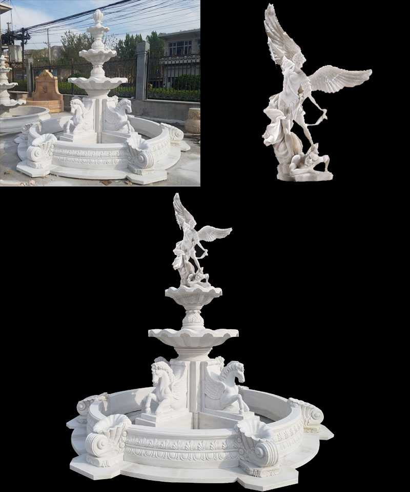 Antique White Marble Outdoor Horse Garden Water Fountain for Sale