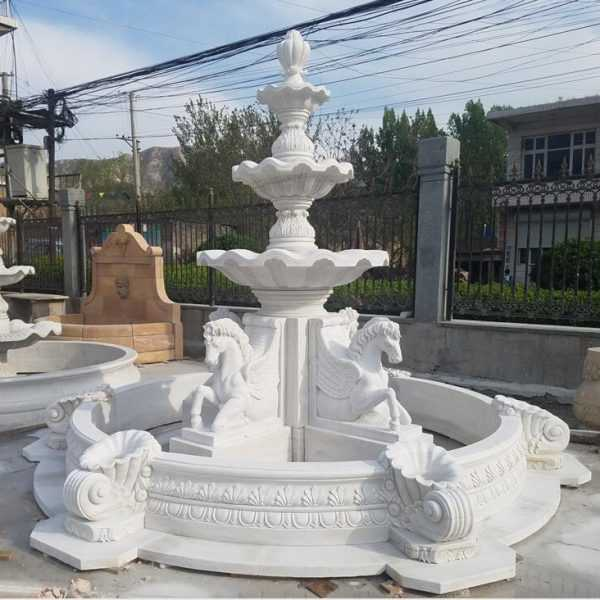 Antique White Marble Outdoor Horse Garden Water Fountains for Sale