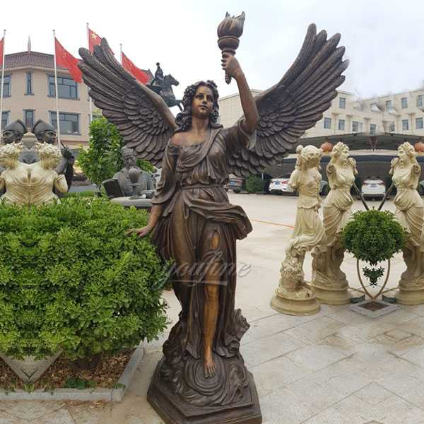 Antique life size bronze large angel statue with torch designs for sale on stock from China supplier-BOKK-05