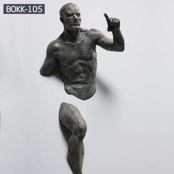 Matteo Pugliese Famous Abstract Bronze Man on Wall Sculpture