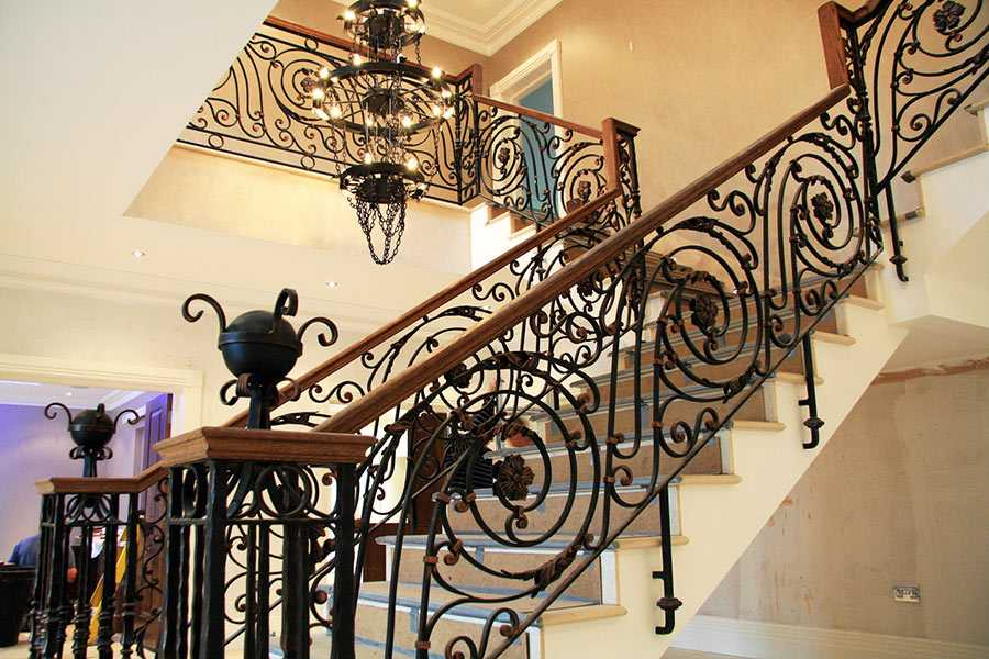 Beautiful grand staircase wrought iron handrails for indoor stairs for sale--IOK-166