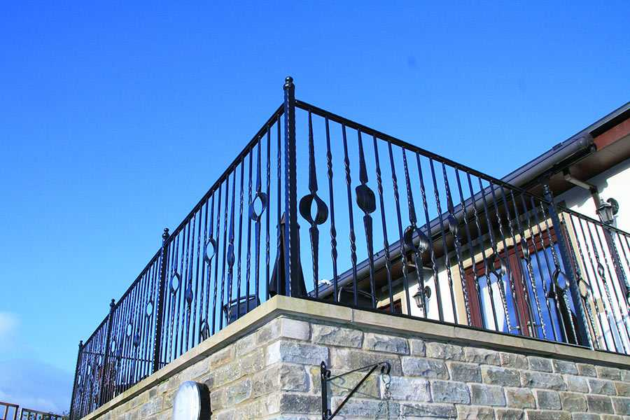 Beautiful metal fence ornate large wrought iron balusters for balcony designs for sale--IOK-154