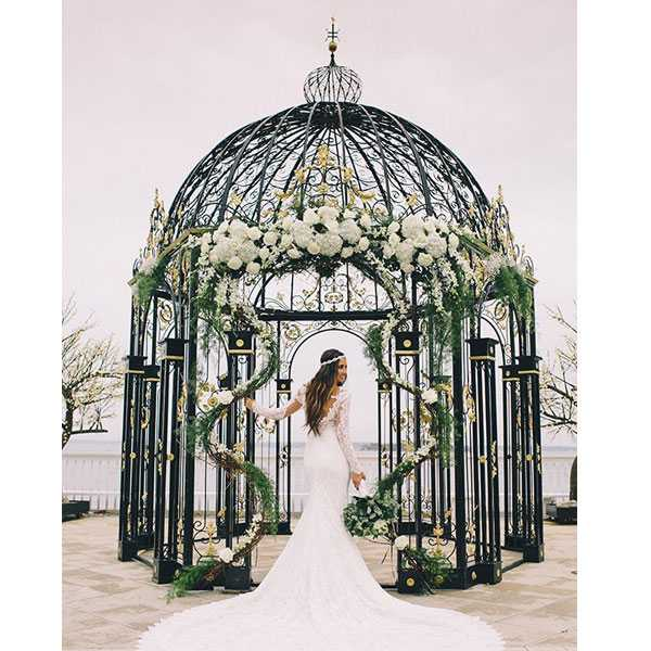 Beautiful small metal decor art wrought iron gazebo for wedding ceremony for sale--IOK-254