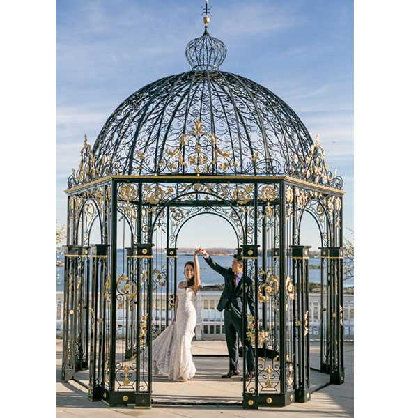 Beautiful small metal decor art wrought iron gazebos for wedding ceremony for sale–IOK-254