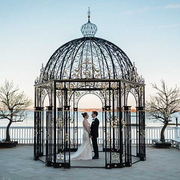 Beautiful small metal decor art wrought iron pavilion for wedding ceremony for sale--IOK-254