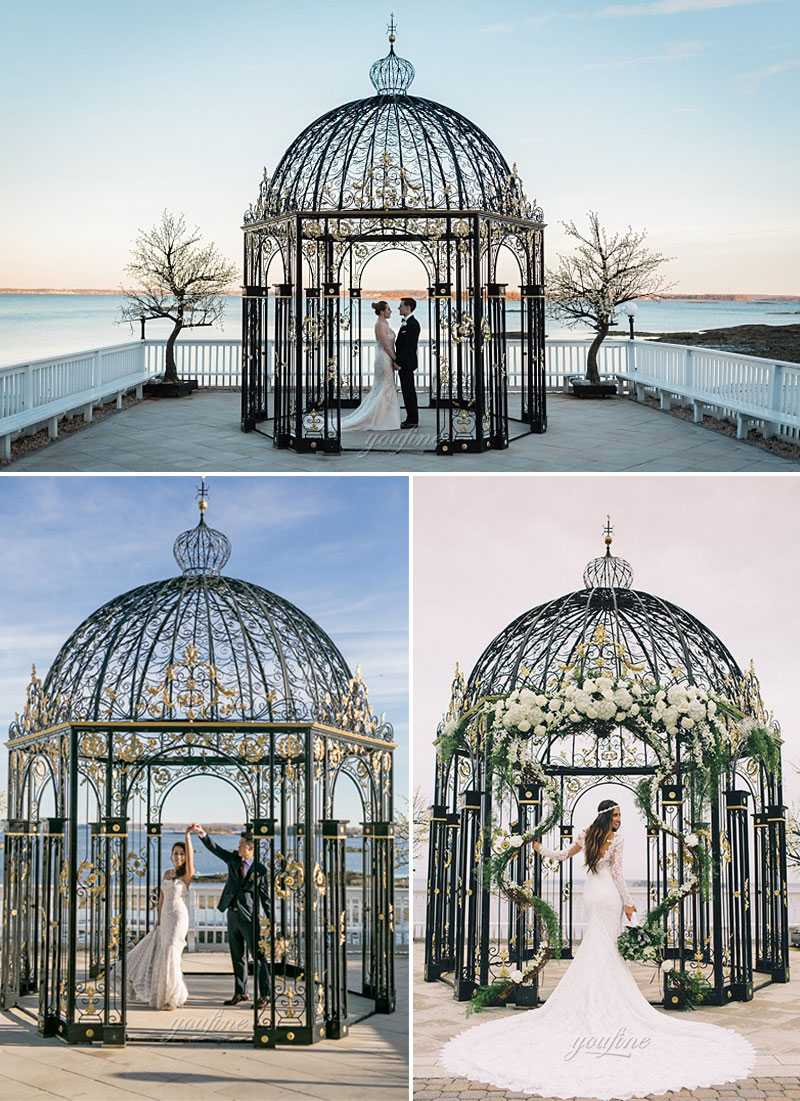 Beautiful small metal decoration art wrought iron gazebos for wedding ceremony for sale--IOK-254