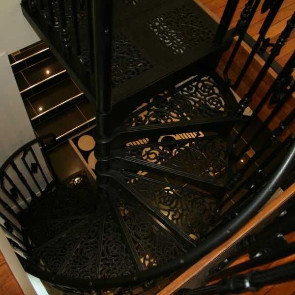 Black modern metal wrought iron round stair railings interior for sale--IOK-176