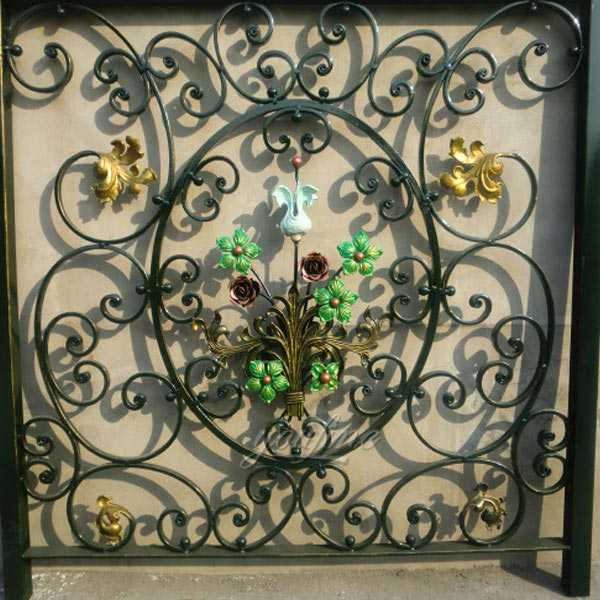 Buy high quality ornamental wrought iron fence with flower designs from China Ironwork companies for sale--IOK-133