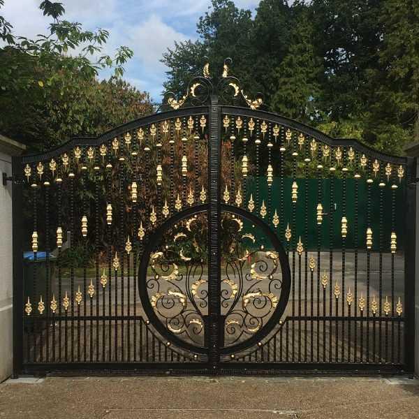 Contemporary high quality decorative metal garden wrought iron entrance gates price--IOK-199