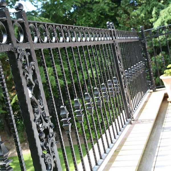 Custom athena wrought iron fence balcony design for sale from China ironwork factory--IOK-253