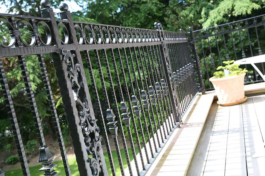 Custom athena wrought iron fence balcony design for sale from China ironwork factory–IOK-253