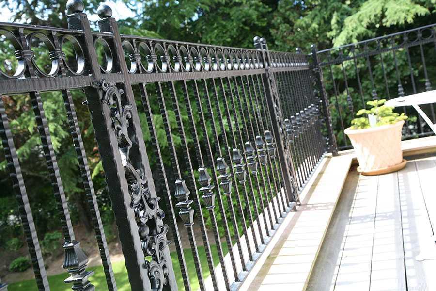 Custom athena wrought iron fence balcony design for sale from China ironwork factory–IOK-253