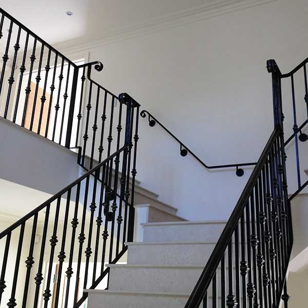 Custom factory supply black indoor decor stairs iron railings designs for sale--IOK-162