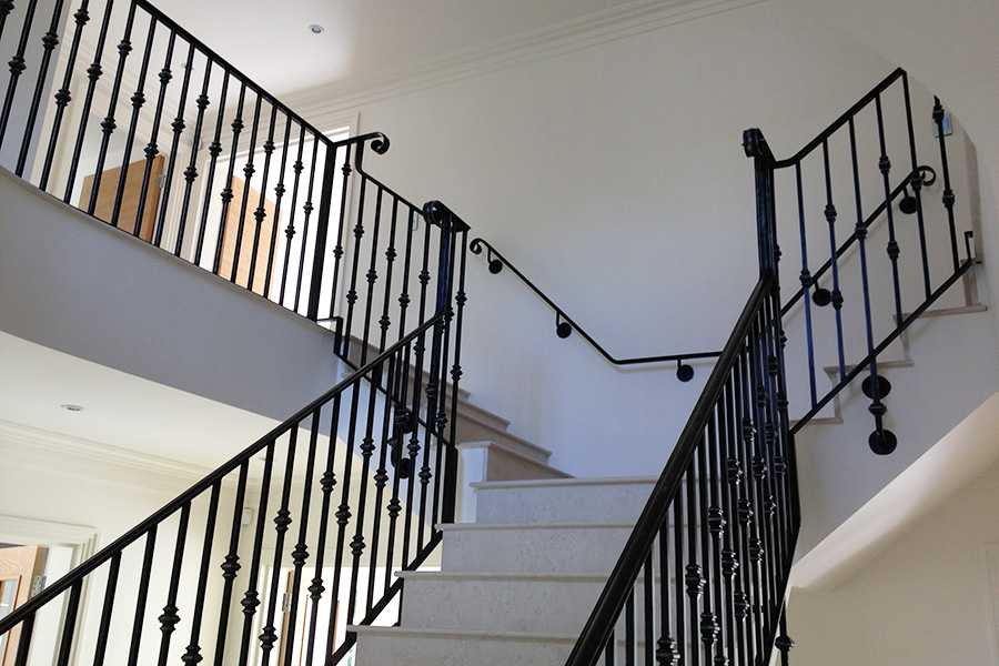 Custom factory supply black indoor decor stairs iron railings designs for sale–IOK-162