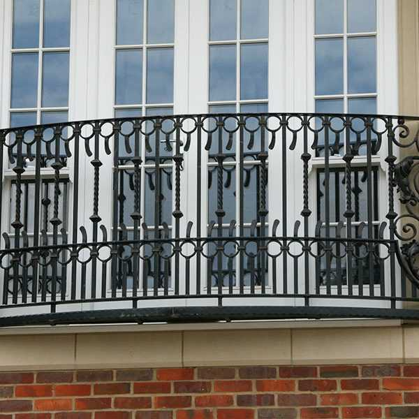 Custom house wrought iron faux balcony railing designs with high quality for sale--IOK-146