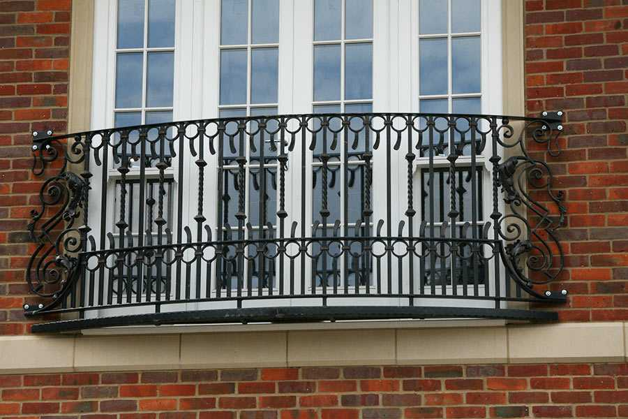 Custom house wrought iron faux balcony railing designs with high quality for sale–IOK-146