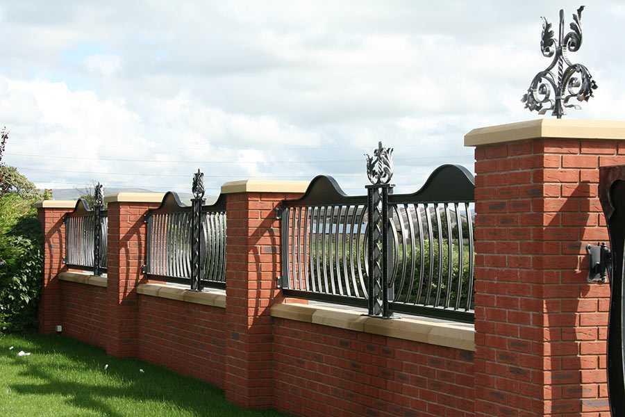Decorative custom ironwork wrought iron fence design for sale for garden decor--IOK-215