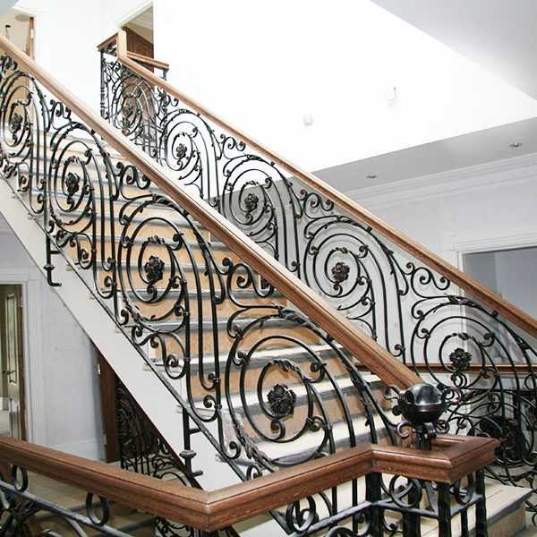 Decorative wrought iron balustrades gallery landing interior metal stair railing wholesale on discount for sale--IOK-164