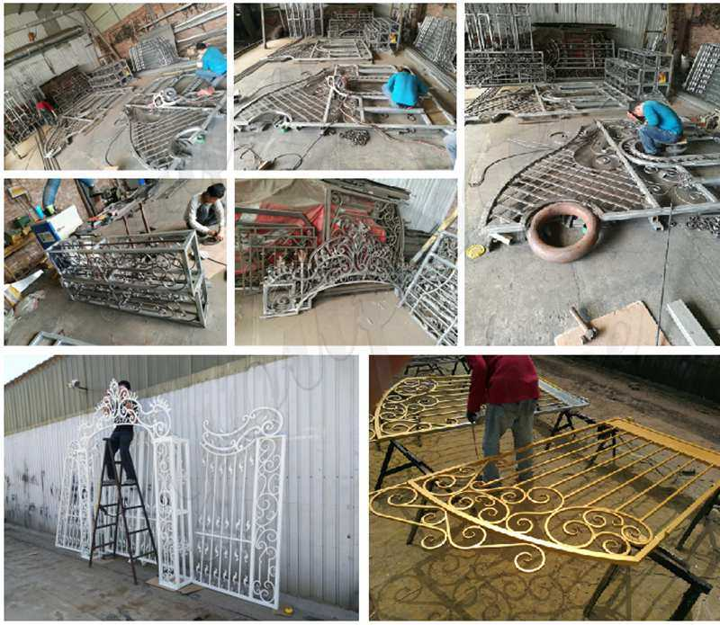 Double Sliding Wrought Iron Tree Gates for sale
