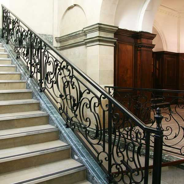 Elegant ornamental wrought iron staircase and handrails design for steps interior for sale--IOK-173