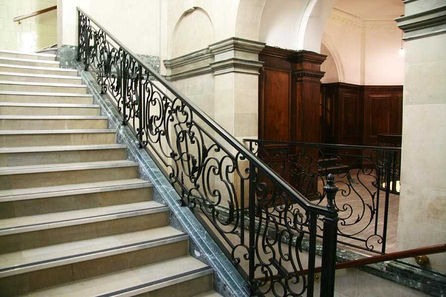 Elegant ornamental wrought iron staircase and handrails design for steps interior for sale–IOK-173