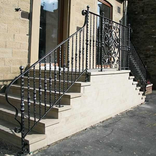 Exterior elegant contemporary outdoor safety iron staircase for outdoor steps for sale--IOK-174