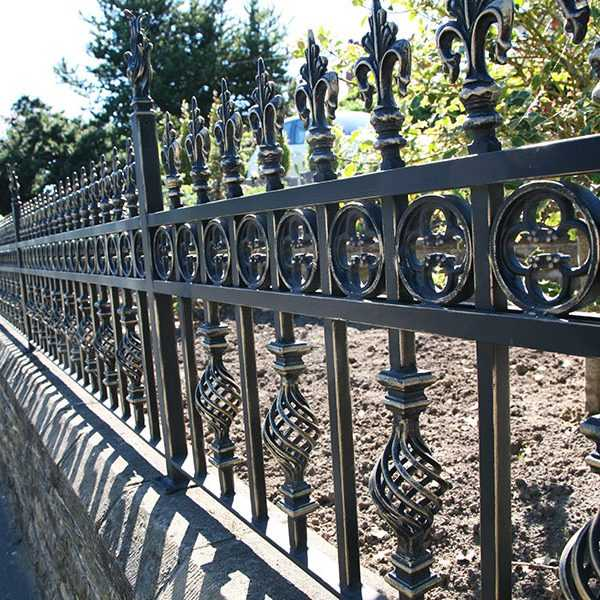 Factory direct supply cast iron fence post black iron railing for sale from China--IOK-227