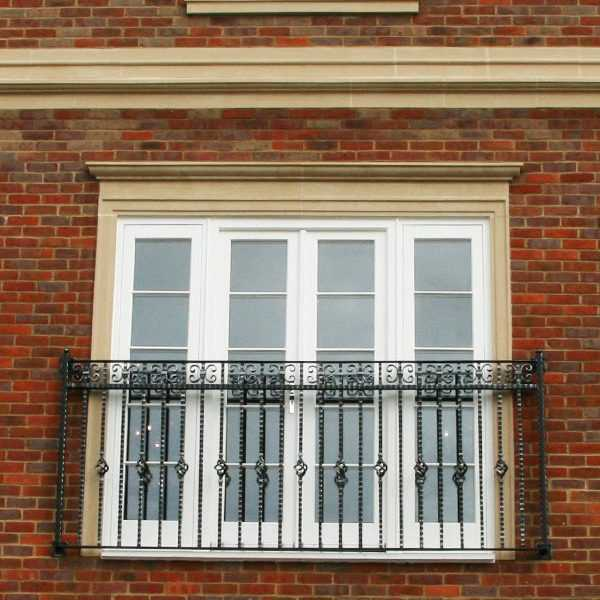 Factory directly window false balcony railing design for sale with high quality wrought iron material for hotel decor–IOK-148