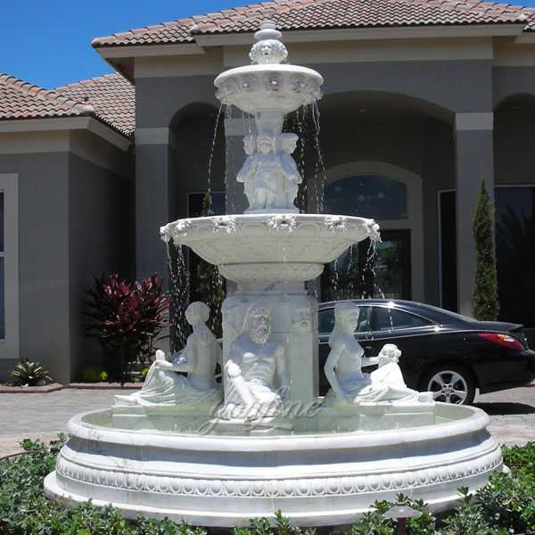 Hand carved 3 tiered pure white marble fountain with figure statues design for sale for front yard decor–MOKK-86
