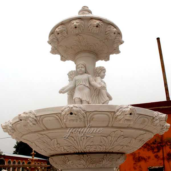 Hand carved 3 tiered pure white marble fountain with figure statues design for sale for front yard decoration--MOKK-86