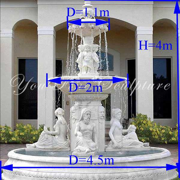 Hand carved 3 tiered pure white marble fountains with figure statues design for sale for front yard decor--MOKK-86