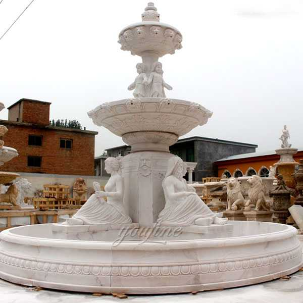 Hand carved 3 tiered yellow marble fountain with figure statues design for sale for front yard decor--MOKK-86