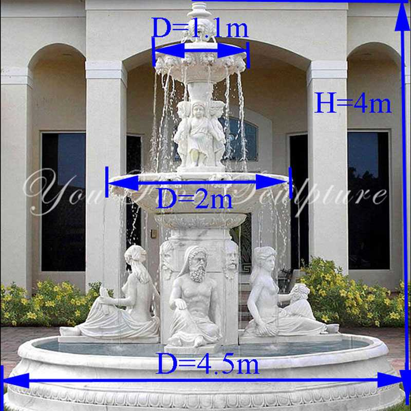 Hand carved 3 tire pure white marble fountain with figures statues design for sale for front yard decor--MOKK-86