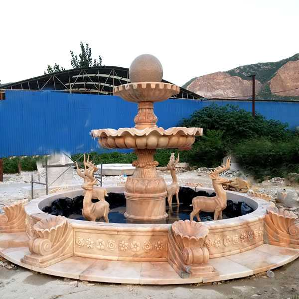 High quality tiered yellow marble fountain with deer designs for garden decor for sale–MOKK-04