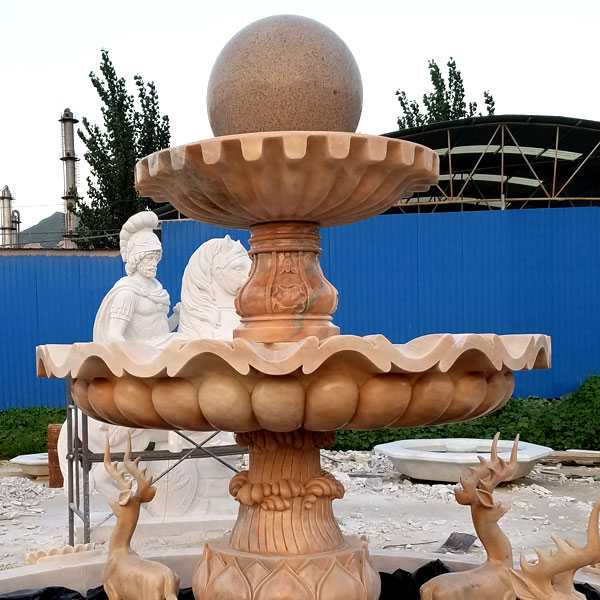 High quality tiered yellow marble fountain with deer designs for garden decor for sales--MOKK-04
