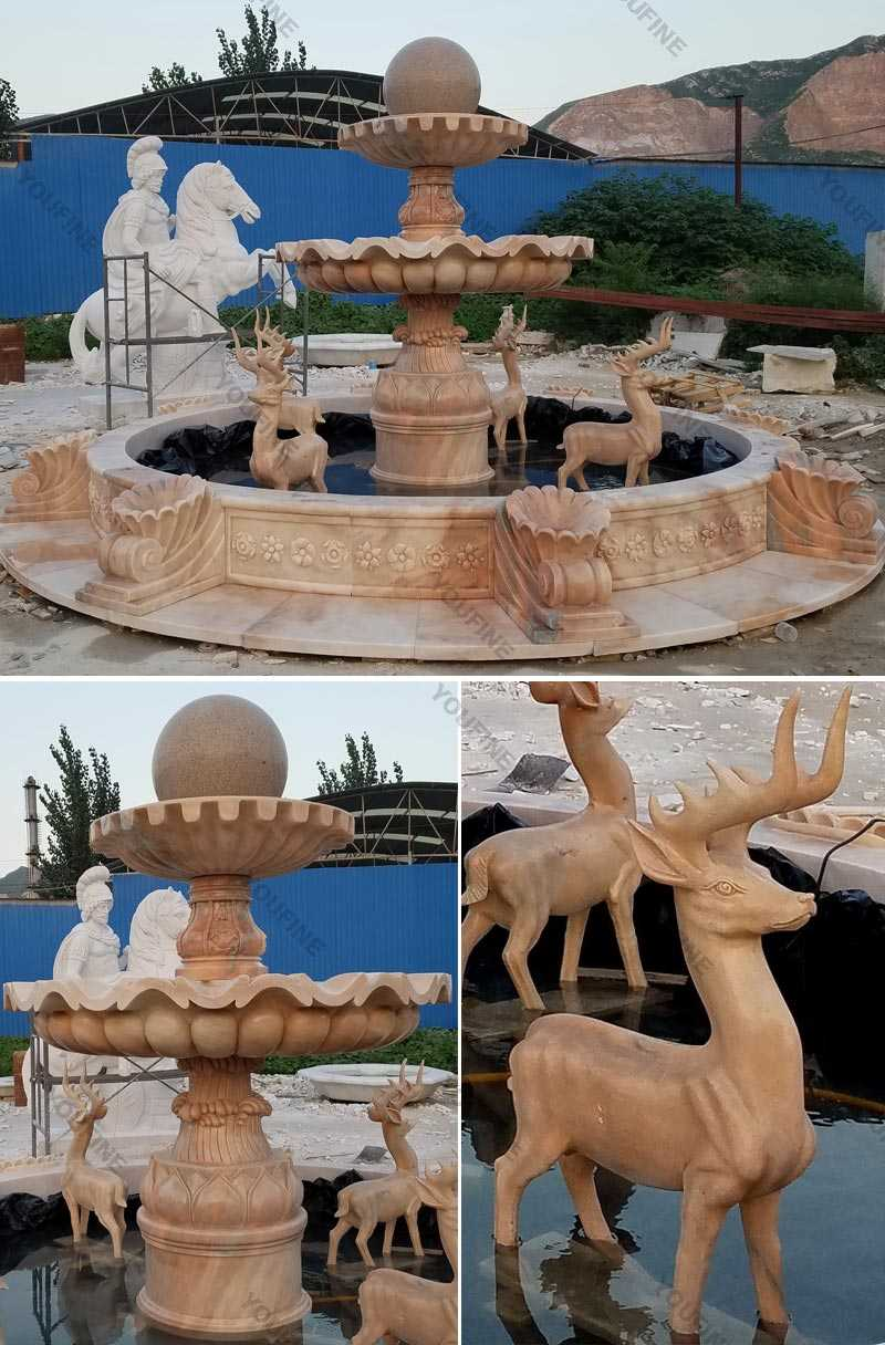 High Quality Tiered Yellow Marble Fountain With Deer