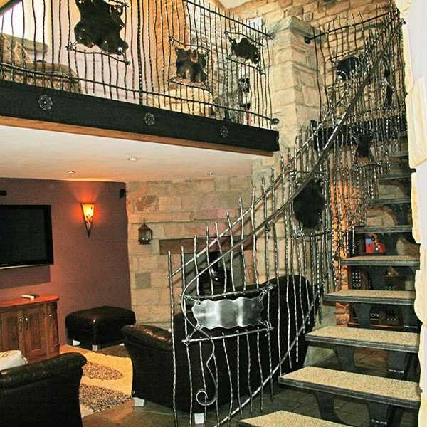 Interior metal decor discount black wrought iron balusters internal staircase design for sale--IOK-169