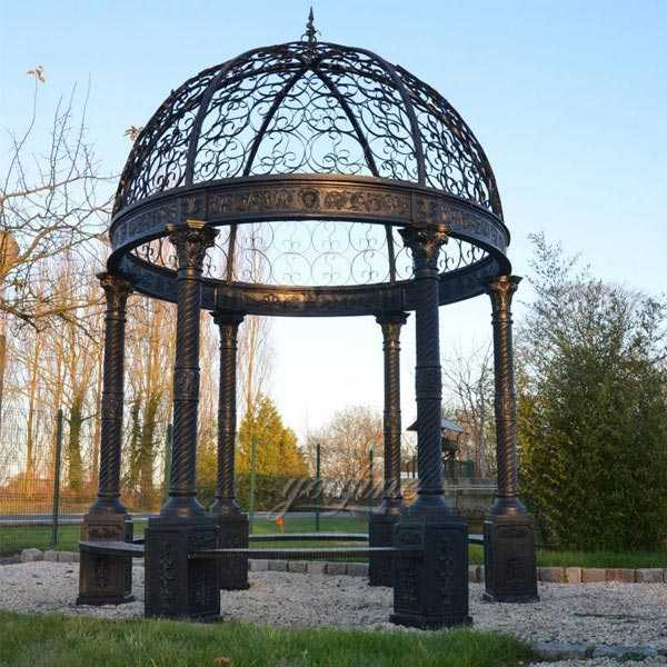 Large Antique Casting Iron Gazebo with Wrought Iron Dome and Seat Design for Backyard Decor IOK-117