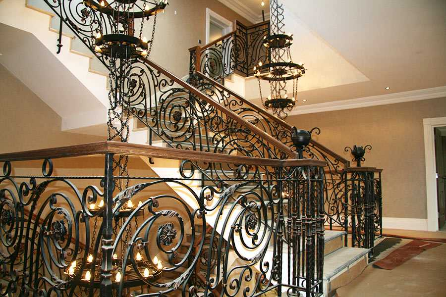 Large custom made stunning wrought iron staircase railing designs entrance hall for sale--IOK-178