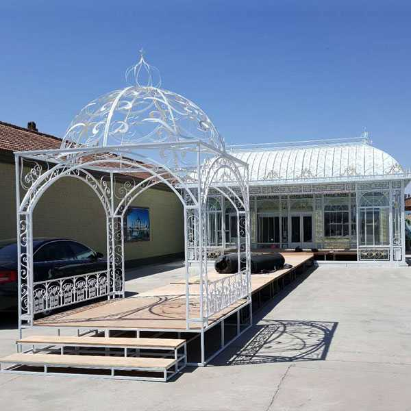 Large metal iron wedding decorative gazebo and arch for sale–IOK-256