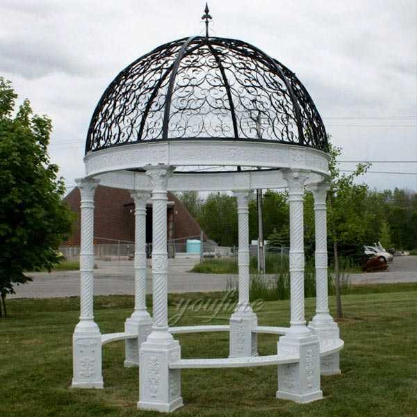 Life Size Cast Iron Gazebo Wedding Gazebo with Wrought Iron Dome Design for Sale IOK-115